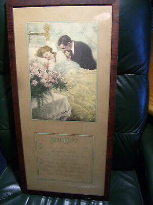 """Antique 1909 Victorian  Art Print """"The Gift"""" by C Clyde Squires Veneer Framed"""