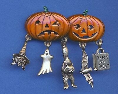 Halloween Pumpkins Brooch With Charms Jonette Original!