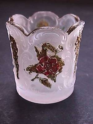 Antique Wild Rose with Bow Knot Sultan McKee Glass EAPG Toothpick Holder