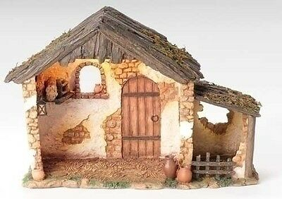 """Fontanini 5"""" Scale 10"""" Lited Med Resin Nativity Stable"""