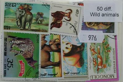 Wild Animals, 50 stamps, all different (976)