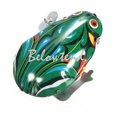 Metal Vintage Wind Up Interesting Jumping Frog Tin Toy Christmas Gift Cute