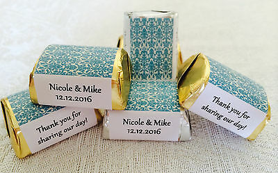 120 BLUE DAMASK Personalized Candy labels/wrappers/stickers for wedding/party
