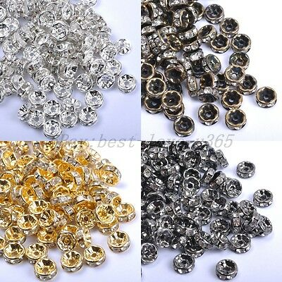 100Pcs GOLD SILVER BRONZE BLACK, Czech Crystal Rhinestone Rondelle Spacer Beads
