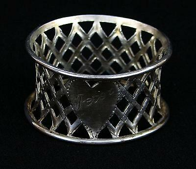 Vintage Silverplated Napkin Ring Heart Cartouche Peter Pierced Basketweave Sides