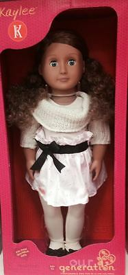 Our Generation 18 Inch Doll Girl Brown Curly Hair Blue Eyes Kaylee Dressy NEW