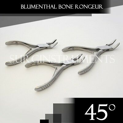 "3 Pieces Of Blumenthal Bone Rongeur 45 Degree 4.5"" Surgical Dental Instruments"