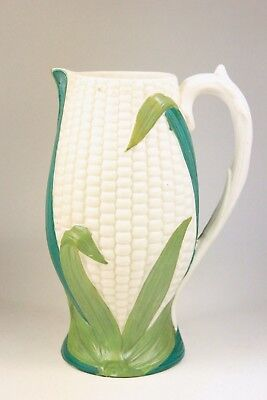 ANTIQUE 'CORN ON THE COB' MOULDED GLAZED PARIAN JUG by JAMES ELLIS & SON