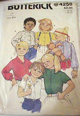 #4256 VINTAGE BUTTERICK GIRLS BLOUSE W/ VARIATIONS SIZE 6X