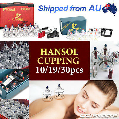 Genuine Hansol cupping set 10/19/30 cups for vacuum massage and Acupuncture