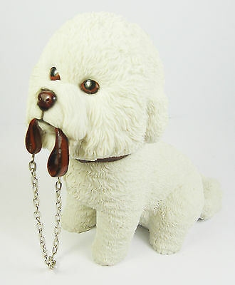 Dog Figurine Sculpture Bichon Frise with Lead Ornament Gift Boxed Present NEW
