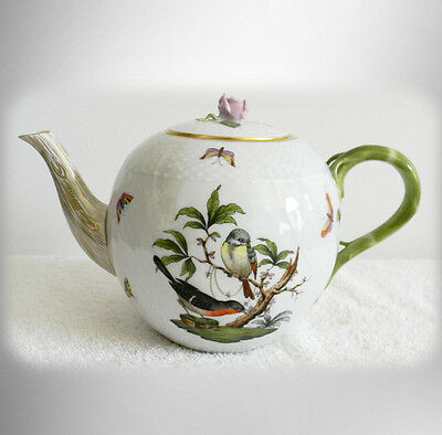 Herend Rothxchild RO bird pattern teapot with rose finial - FREE SHIPPING