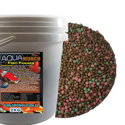 AQUAmunch Goldfish Gold Aquarium Fish Food 3mm Feed 2.5kg Koi Pond Floating