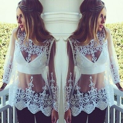 Women Sheer Long Sleeve Embroidery Floral Lace Crochet Tee T-Shirt Tops Blouses
