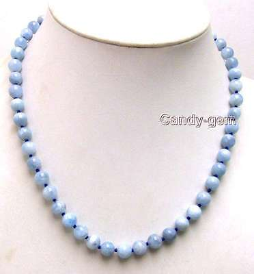"SALE Genuine 8mm Round Natural High quality Blue Aquamarine 18"" necklace-n5673"