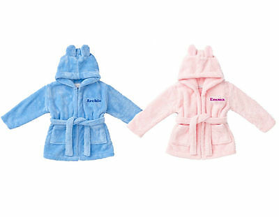 Personalised Embroidered Front & Back Baby to 5y Hooded Bath Robe Dressing Gown