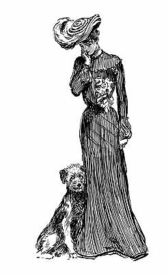 """Clear Stamp (1.5""""x3"""") Victorian Girl w Dog FLONZ acrylic clingy vintage rubber"""