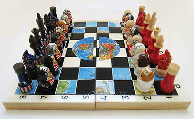 "Wodden chess ""Leaders of the USA and Russia"". Hand painted."
