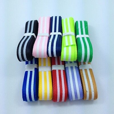 """Hot NEW 10 YDS 3/8"""" (9 mm) printed White Straight lines Grosgrain ribbon lot"""