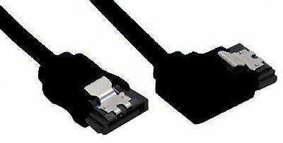Round Sata 3 Data Cable - Straight to Horizontal Left Angle - 30cm