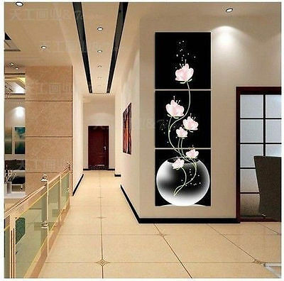 """3P Large TOP Modern """"HOME & WALL """"Decor ART oil painting with frame"""