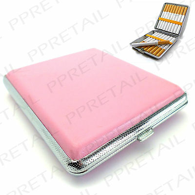 ★PINK★LEATHER & CHROME CIGARETTE HOLDER Hard Case Smoking Roll Ups Protector Tin