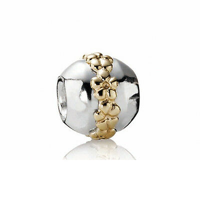 AUTHENTIC PANDORA #790179 SILVER & 14K GOLD SATURN FLOWER BEAD BN TWO TONE SAVE$