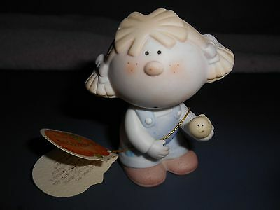 Bumpkins Little Girl Holding Bird Figurine