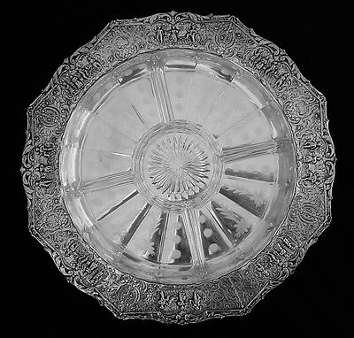 Ornate Antique Dutch Style Silverplate Embossed Scenic Repousse Tray & Insert