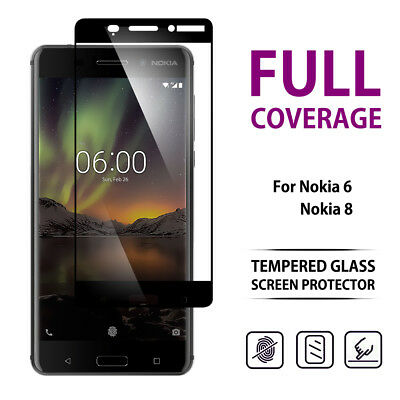 9H Full Coverage Tempered Glass LCD Screen Protector For Nokia 6 2018 Black