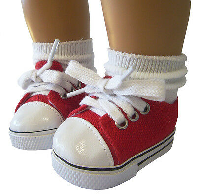 "Red Canvas Sneakers Gym Shoes made for 18"" American Girl Doll Clothes"