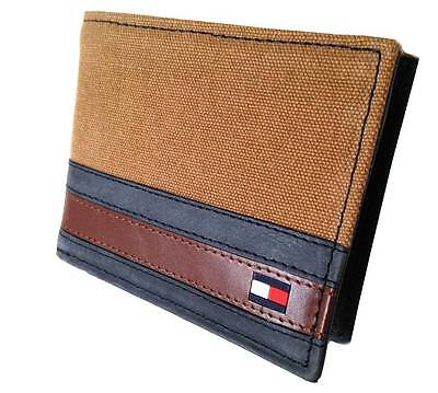 NEW TOMMY HILFIGER MEN'S CANVAS LEATHER CREDIT CARD WALLET PASSCASE BILLFOLD