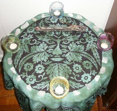 GREEN MAN PAN ALTAR TAROT CLOTH  80cm   Wicca Pagan Witch Goth Spell GREENMAN