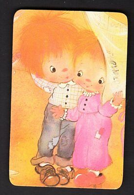 Vintage Swap Card - Cute Couple  (BLANK BACK)