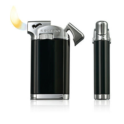 Colibri Connaught Black Lacquer Soft Flame Pipe Lighter Luxury Gift Boxed