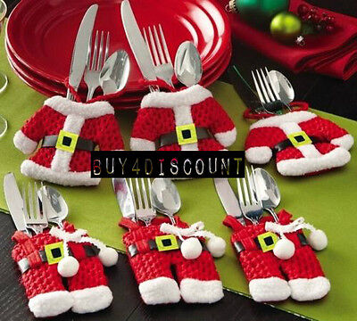 Set of 6 Christmas Santa Claus Suit design Silverware Holder Pockets Table decor