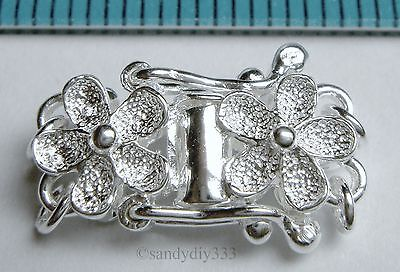 1x BRIGHT STERLING SILVER 2-STRAND FLOWER STARDUST PEARL BOX CLASP N331