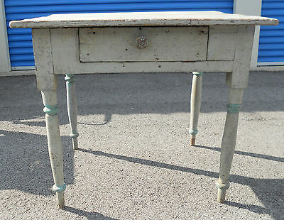 Antique Primitive Wood Table With Drawer Old Gray Paint