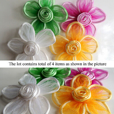 Set of 4 Mixed Color Flower Dog Collar Corsage Pet Grooming Fashion Accessory #3