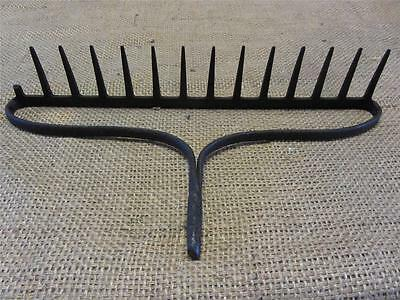 Vintage Iron Garden Rake   Coat Rack Kitchen Antique Farm Old Tool Tools 8853