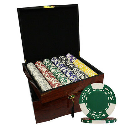 750pcs CLAY WHEAT POKER CHIPS SET HIGH GLOSS WOOD CASE CUSTOM BUILD