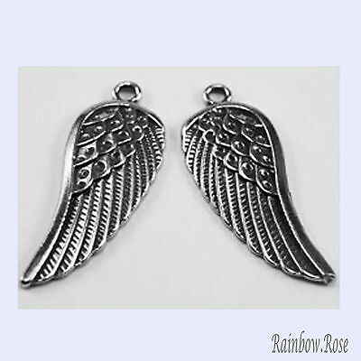 PEWTER CHARM #297 ANGEL WINGS 14mm x 35mm x 2 WINGS (matching pair)