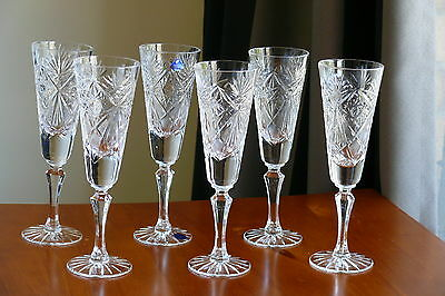 CLASSIC style TALL 24% Lead CRYSTAL wine glasses/ GOBLETS, Set of 6, Russia