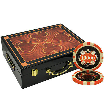 500 14G Ace Casino Clay Poker Chips Set High Gloss Wood Case Custom Build