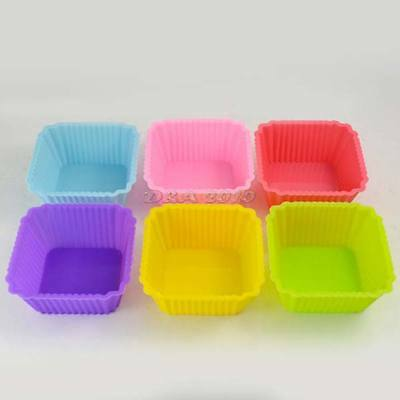 6 Pcs Square Colorful Muffin Cup Cake Baking Molds Silicone Jelly Pudding Moulds