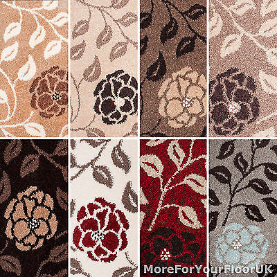 Flower Wilton Carpet 4m Wide, Traditional Pattern Woven Backing Twist Pile CHEAP