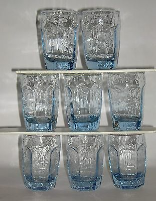 VTG LIBBEY CHIVALRY ICE BLUE BEVERAGE DRINK GLASS JUICE DOUBLE SHOT TUMBLER 8