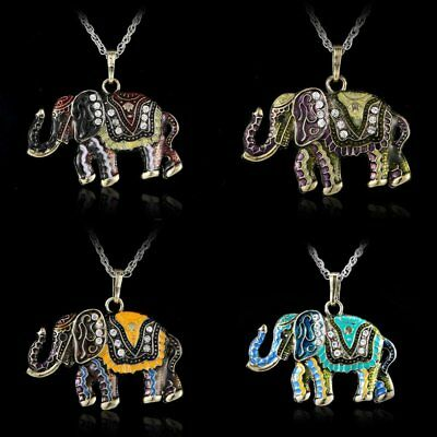 chic Elephant Retro Crystal Colorful Fashion Sweater Chain Pendant Necklace New