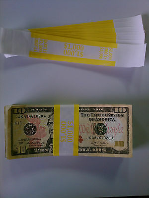 25 - New Self-Sealing Currency Bands - $1000 Denomination - Straps Money Tens