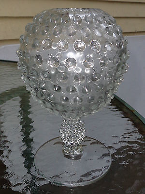 fine  old clear hobnail pressed glass lamp base